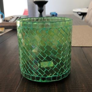 Green mosaic sleeve candle holder